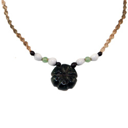 Hemp Necklace with Peyote Shaped Serpentine Pendant