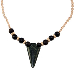 Hemp Necklace with Serpentine Arrowhead Pendant