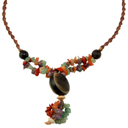 Hemp Necklace with Deers Eye Pendant