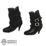 Boots: ACPlay Black Female Short Leather-Like Boots