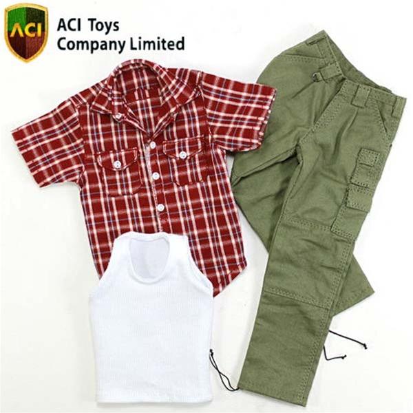 Monkey Depot Aci Toys Flannel Shirt Short Sleeves White Vest