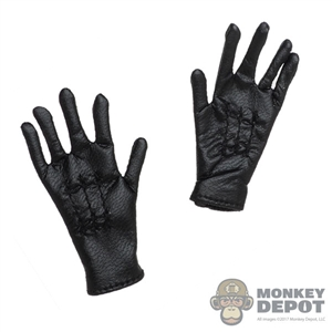 Gloves: Alert Line Mens Black Leather-Like Gloves