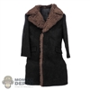 Coat: Alert Line Mens Black Jacket w/Brown Fur Collar