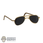 Glasses: Alert Line Mens Gold Framed Sunglasses (Metal)