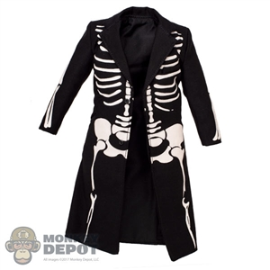 Coat: Black Box Black Frock Coat w/Painted Bones