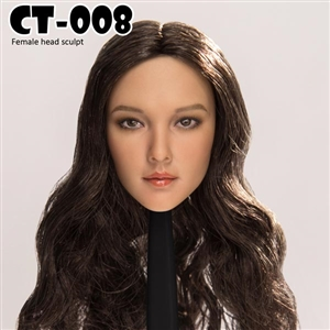 Head: Cat Toys Female Head w/Dark Brown Hair (CAT-008D)