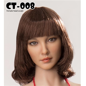 Head: Cat Toys Female Head w/Short Brown Hair with Bangs (CAT-008A)