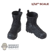 Boots: CrazyFigure 1/12th Mens Black Molded X-Boots