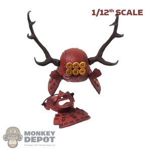 Helmet: Coo Models 1/12th Red Kabuto w/Antlers & Menoshitabao