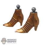 Boots: Coo Models Female Gold Colored Metal Boots
