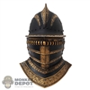 Helmet: Coo Models Mens Black/Gold Metal Knights Helmet