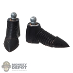 Boots: Coo Models Mens Black Metal Shoes