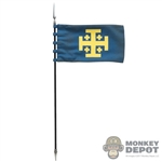 Flag: Coo Models Blue Flag w/Spear + Kingdom Of Jerusalem Crest
