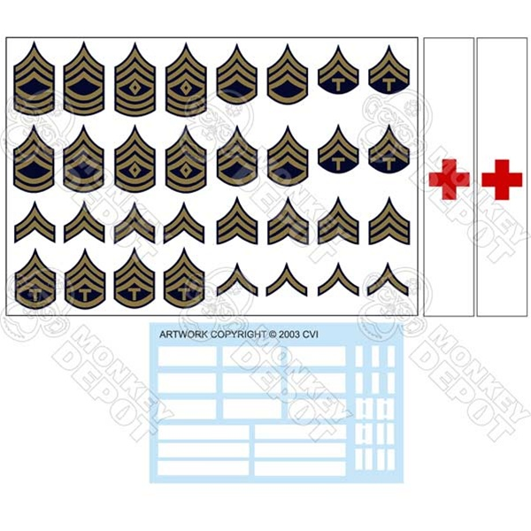 Insignia: CVI US Army G I  Rank Set: Winter Chevrons and Helmet Decals