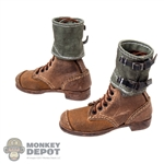 Boots: DiD German WWII Brown Boots w/Gaiters (Weathered)