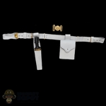 Belt: DiD White Leather Belt w/Bayonet, Sheath, Mag Pouch & Scots Guard Buckle