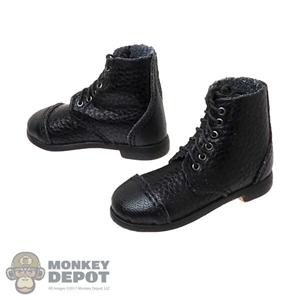 Boots: DiD Mens Short Black Leather-Like Boots