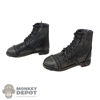 Boots: DiD Mens Short Black Leather-Like Weathered Boots