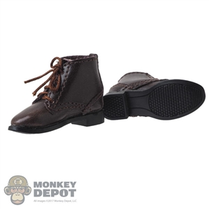 Boots: DiD Mens Brown Leather-Like Boots