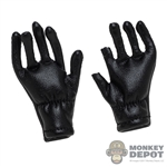 Gloves: DiD Black Leather-Like Gloves w/Fingers Cut