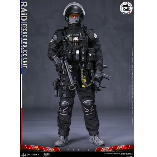 "DAMTOYS 78061 1//6 Scale French Police Unit Raid in Paris 12/"" Figure Pouches Belt"