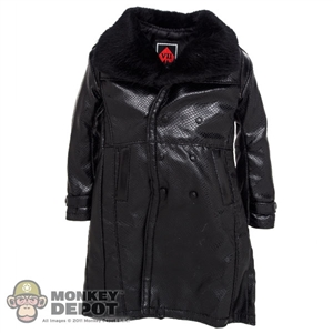 Coat: DamToys Long Black Leather Jacket w/Fur Collar