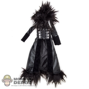 Coat: DamToys Female Fur Collar Leather Jacket