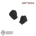 Hands: DamToys 1/12th Mens Black Molded Gloved (Fist)
