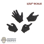Hands: DamToys 1/12th Mens Black Molded Gloved (Action Poses)