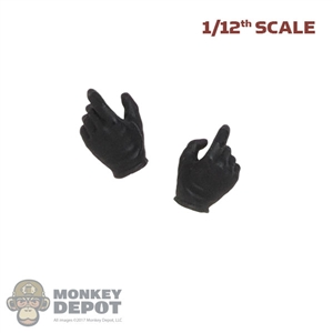 Hands: DamToys 1/12th Mens Black Molded Gloved (Weapon Grip)