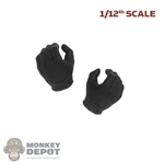 Hands: DamToys 1/12th Mens Black Molded Gloved (Holding Grip)