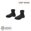 Boots: DamToys 1/12th Mens Black Molded Tactical Boots