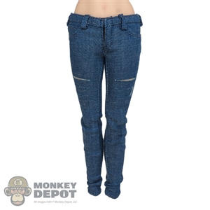 Pants: DamToys Female Dark Blue Jeans w/Cuts