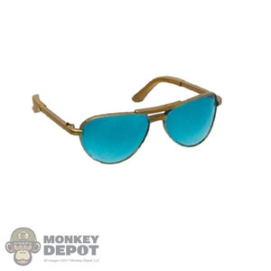 Glasses: DamToys Female Gold Frame Sunglasses w/Blue Tint