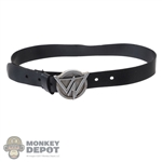 Belt: DamToys Mens Black Belt w/VN Buckle