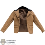 Coat: DamToys Mens Brown Jacket w/Leather-Like Collar
