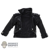 Coat: Figure Coser Female Black Leather-Like Jacket