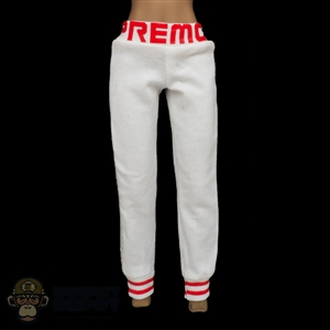 Pants: Fire Girl Female Red & White Sweatpants