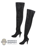Boots: Flirty Girl Female Black Thigh-High Boots