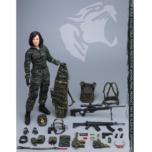 QBZ03 Assault Rifle 1//6 Scale Flagset Figures Snow Leopard Female Sniper