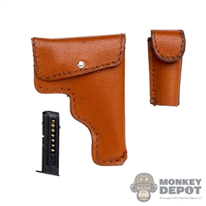 Holster: Flagset Leather Pistol Holster w/Mag Pouch