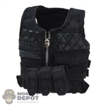 Vest: Flagset Mens Black Tactical Vest w/Removable Pouch