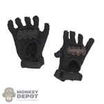 Gloves: Flagset Mens Fingerless Black Cloth Gloves