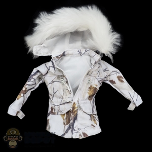 Coat: Flagset Female Snow Camo Jacket w/Removable Fur Hood