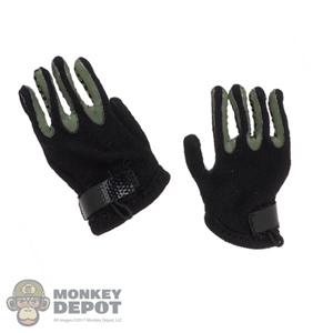 Gloves: Flagset Mens Black & Green Cloth Gloves