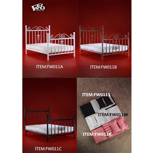 Furniture: Feel Wo Toys Metal Bed w/Mattress (FW-011)