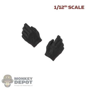 Hands: Great Twins 1/12 Mens Black Molded Gloved Hands (Relaxed)