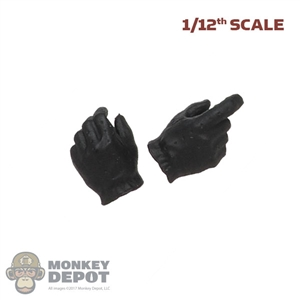 Hands: Great Twins 1/12 Mens Black Molded Gloved Hands (Weapon Grip)