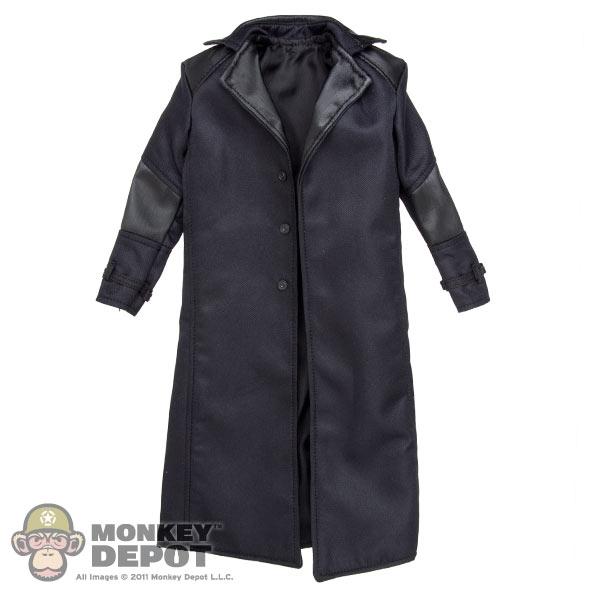 c8227aa6256e6 Monkey Depot - Coat  Hot Toys Black Long Leather Jacket (Nick Fury)