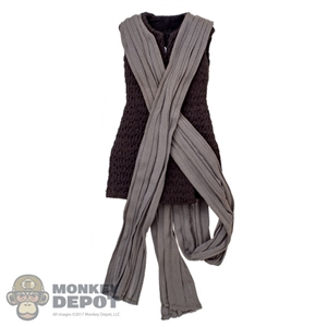 Top: Hot Toys Female Brown Sleeveless Top w/Scarf